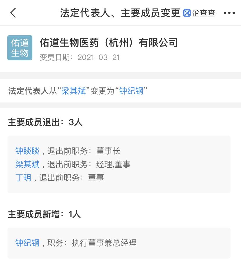 钟睒睒退出养生堂子公司董事长职务